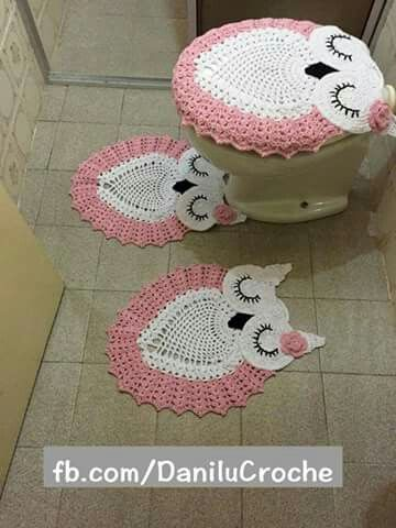 Juego de baño tejido de buho