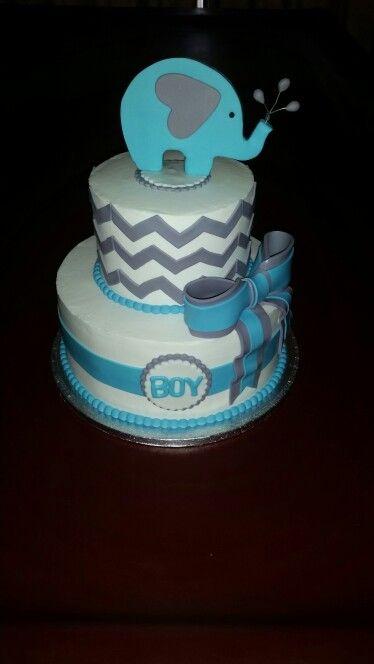 Baby elephant shower cake
