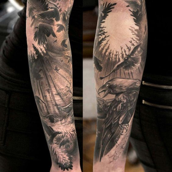 awesome black and white scale full sleeve tattoo awesome black white