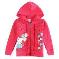 This Peppa Pig Sweatshirt is so full of cuteness, I don't know where to begin... Thick material, zipper closure, embroidered applique, sparkle sipper pull, ruffles and a hood. runs tts.