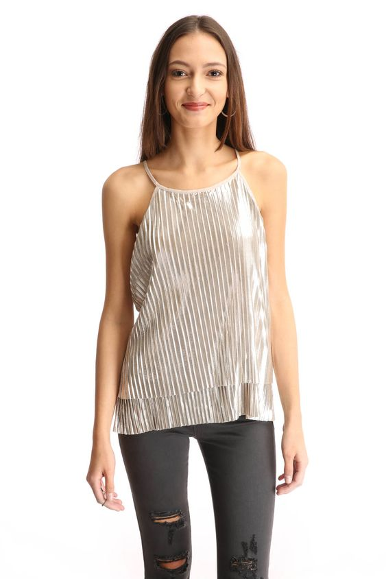 Collective Concepts Plisse Metallic Pleated Layer Cami Top | South Moon Under