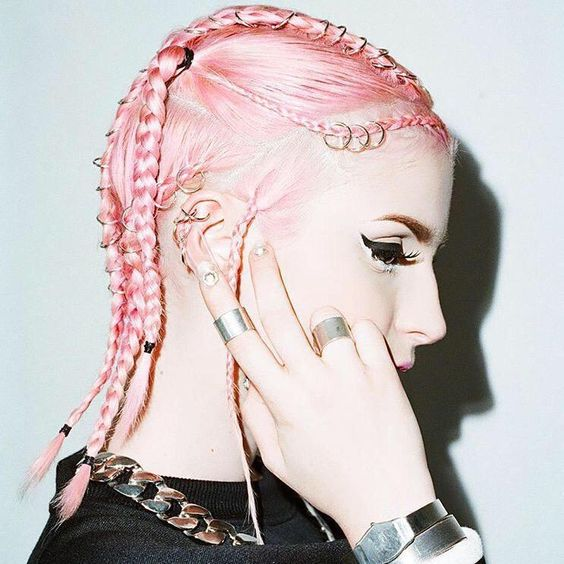 pink braids with gold hoops/rings