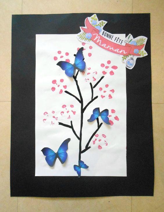 Fete maman mere activite manuelle cadeau tableau fleurs - Activite manuelle simple ...