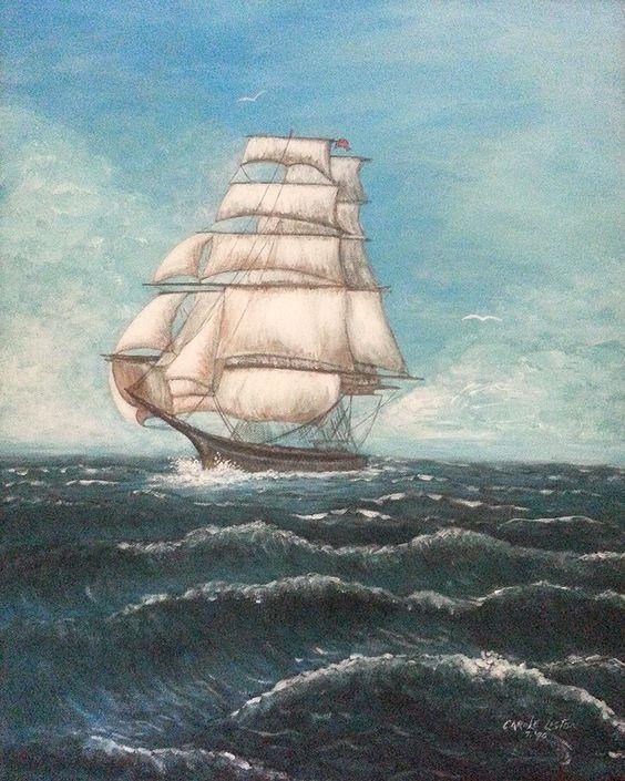 SHIP SAIL 1990 Original 16×20 Acrylic On Canvas