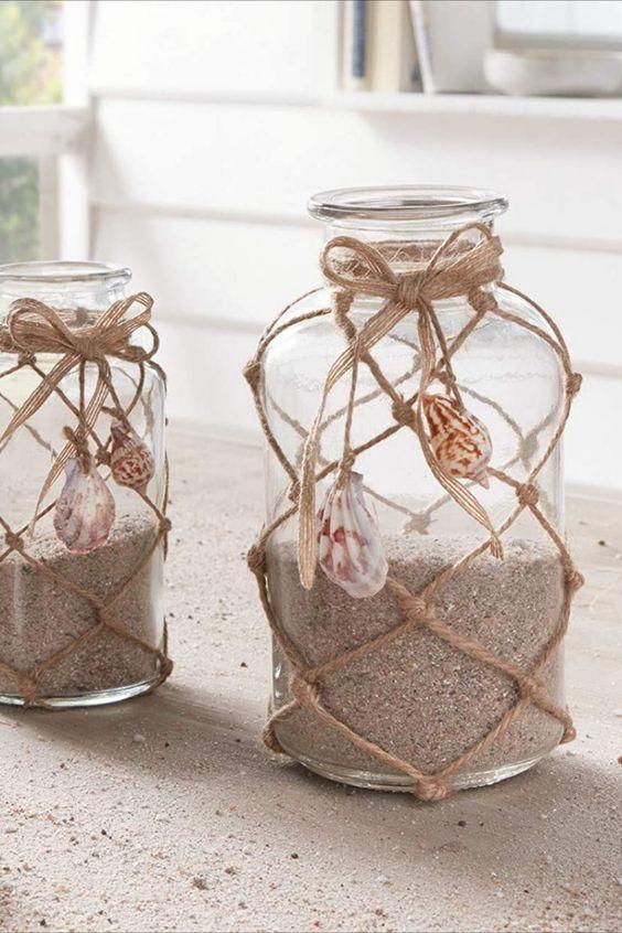 """Deko-Glas """"Strand"""" im 2er Set Klares Glas verziert mit Fischernetz und Muscheln Einsetzbar als Windlicht, Vase und zum individuellen Dekorieren"""