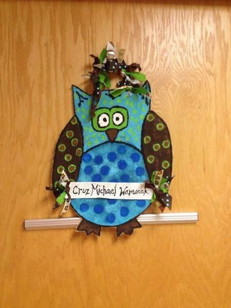 Handpainted Burlap Owl Door Sign
