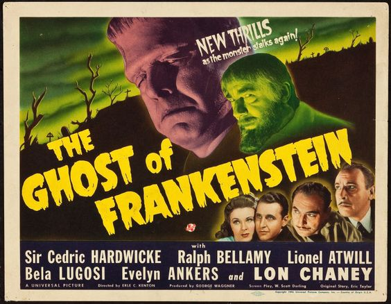 March 13 - Opened on this date in 1942: The Ghost of Frankenstein. #UniversalHorror