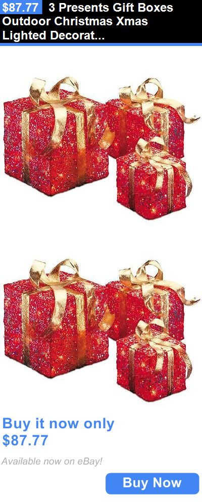 christmas decorations 3 presents gift boxes outdoor christmas xmas lighted decoration set clear lights buy - Outdoor Christmas Decorations Lighted Gift Boxes