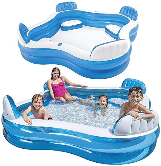 Intex Swim Center Family Lounge Inflatable Pool 90 X 90 X 26 For Ages 3 Home Kitchen Family Pool Inflatable Pool Portable Pools
