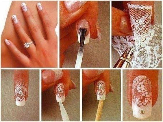 Pinte rendas ou malha para criar um projeto fácil.   32 Easy Nail Art Hacks For The Perfect Manicure