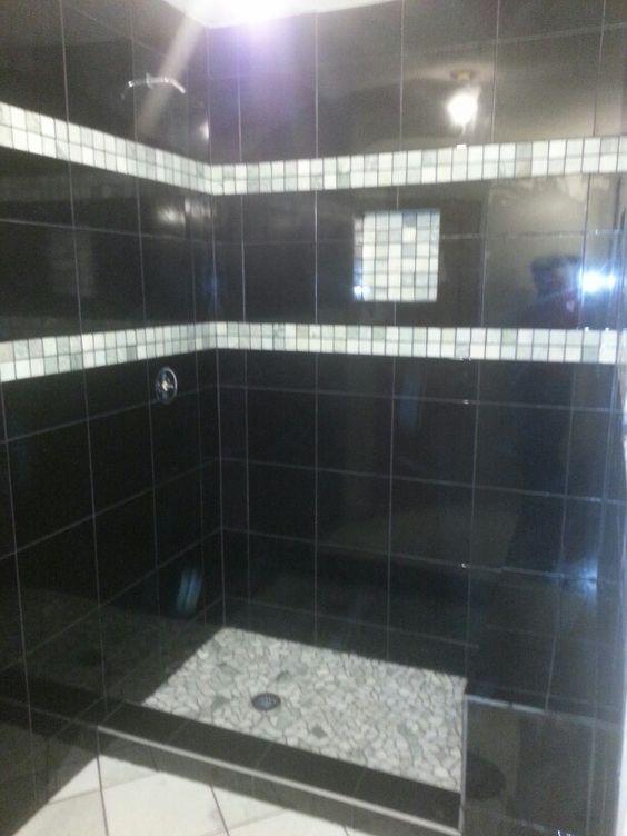 A massive granite walk in shower.