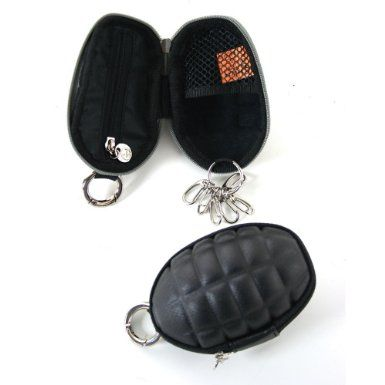 Grenade shaped black coin pouch / key holder, available in a variety of colours but shown in black