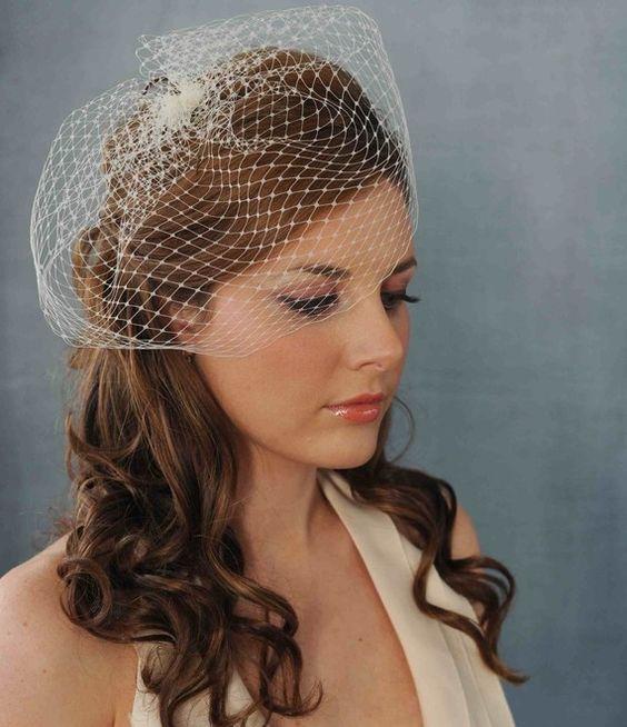 Birdcage Bridal Veil With Hair Down