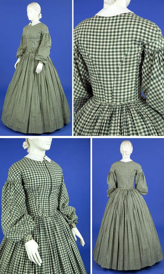 Green and white gingham check hand-sewn cotton dress, ca. 1860-65. Ohio State…:
