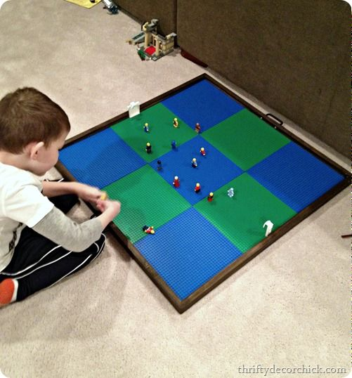 DIY Lego Floor Tray - slides under the couch and the Lego flat pieces come off/on (perfect for movie night)