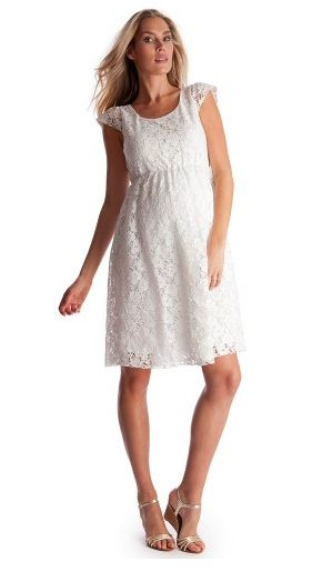 White Lace Maternity Dress from Ella Bella Maternity Boutique http://ellabella.ca/collections/maternity/products/cap-sleeve-lace-dress