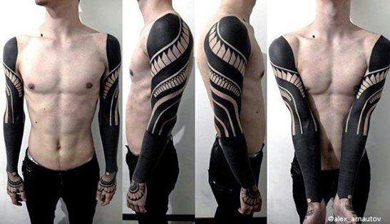 70 All Black Tattoos For Men Blackout Design Ideas Blackout Tattoo Black Tattoos All Black Tattoos