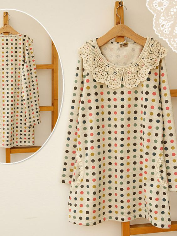 sweet crocheted lace dot pullover