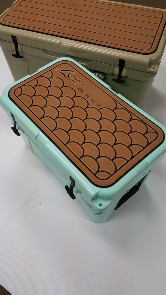 cooler pads for him and her #fishscalespad #aquamarinedecked #coolerpads #yeti