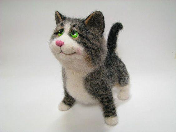 Купить Мирослав - кот, Валяние, валяшка, валяная игрушка, игрушка из шерсти, портрет, шерсть, синтепон