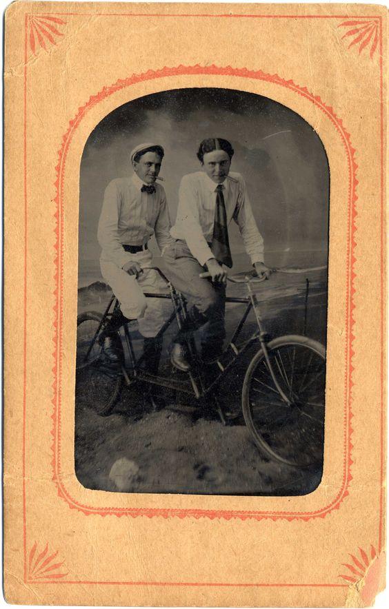 Gentlemen on a tandem bicycle.  9015-003-001 #14011p.  Delaware Public Archives.  www.archives.delaware.gov
