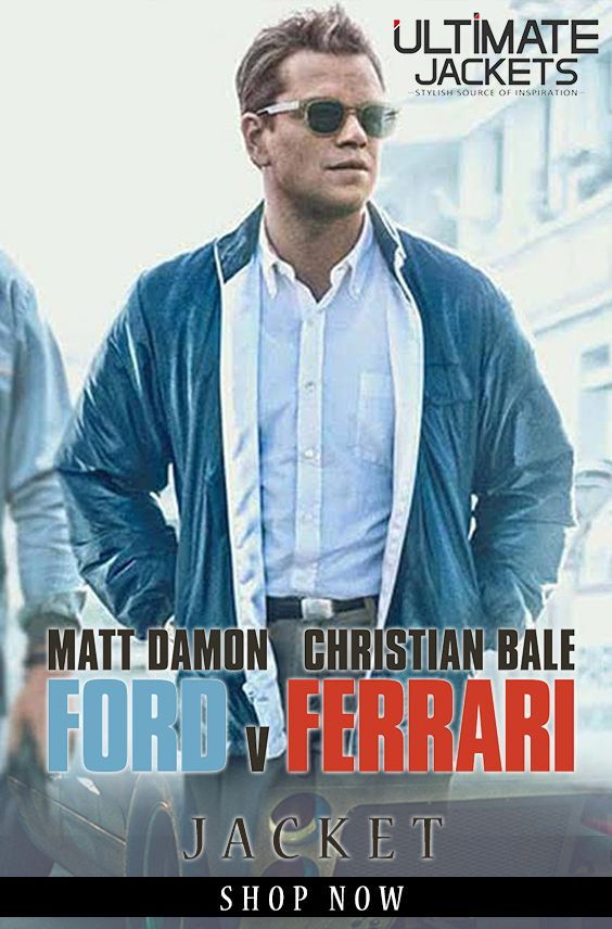 Ford V Ferrari Matt Damon Blue Jacket Carroll Shelby Leather Jacket Jackets Blue Leather Jacket Blue Jacket