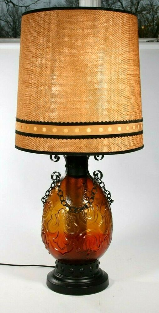 Spanish Revival Table Lamp Red To Amber Glass Gothic Mid Century Vintage 1 Spanishrevival Unknown Amber Glass Lamp Red Table Lamp