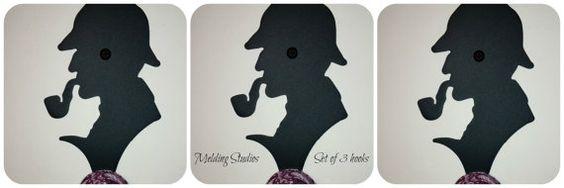 Sherlock Holmes Wall Hooks Set of 3 Plasma cut & by MeldingStudios