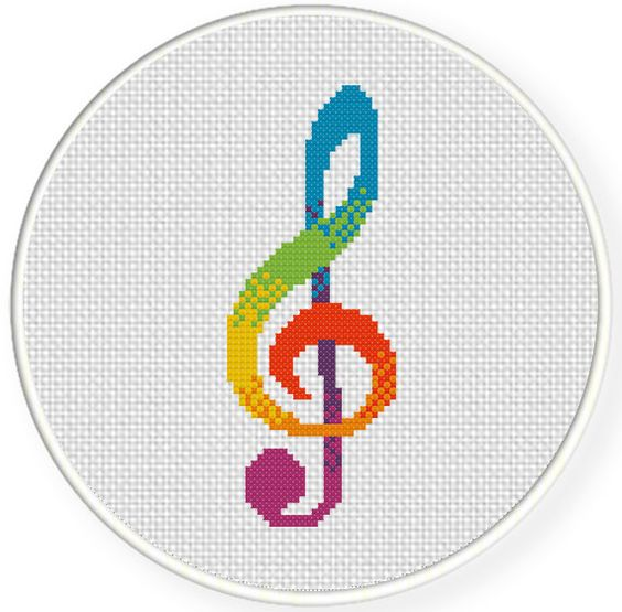 Free colorful clef cross stitch pattern crafts music