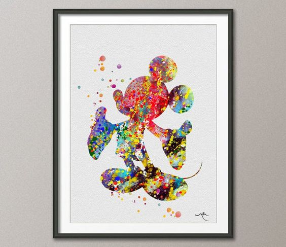 Mickey Mouse 2 Watercolor Print Archival Disney Fine by CocoMilla, $15.00