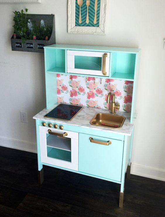 Custom ikea hack duktig kids play kitchen made by reincarnatedbyb grandbabies pinterest - Ikea duktig play food ...