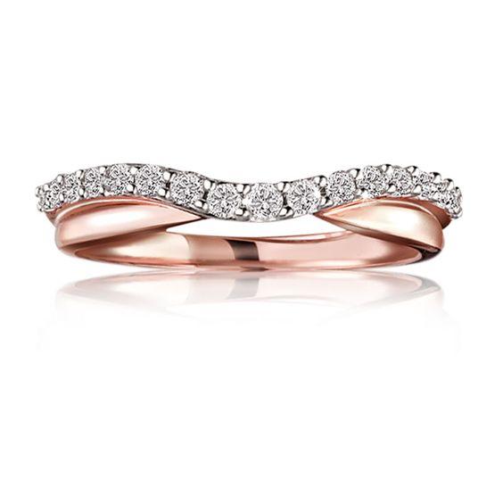 Diamond Contour Wedding Band ¼ ct. T.W. in 14K Rose Gold