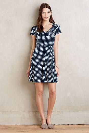 Fit-and-flare silhouette checked black and white summer dress ...