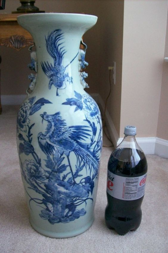 """Old /Antique Chinese Oriental 23"""" Blue and White Birds-Flowers Foo dog Vase"""