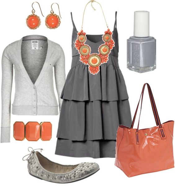 Evoke Style: Summer Outfit, Summer Wedding, Color Combos, Dream Closet, Spring Summer, The Dress, Grey And Coral, Color Combination