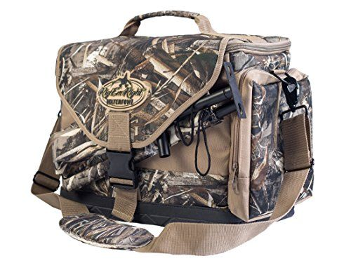 Rig'em Right Deluxe Spinner Hunting Bag - Max 5 Camo 085. Features internal pockets for spare batteries, padded slots to store and protect wings, convenient slots to accommodate extension poles and extra external pockets for spare thumb-screws and miscellaneous gear. Built of the toughest material, this floating bag also boasts a heavy-duty EVA bottom and metal hardware for years of use. Hold up to 2 spinning wing decoys and poles.