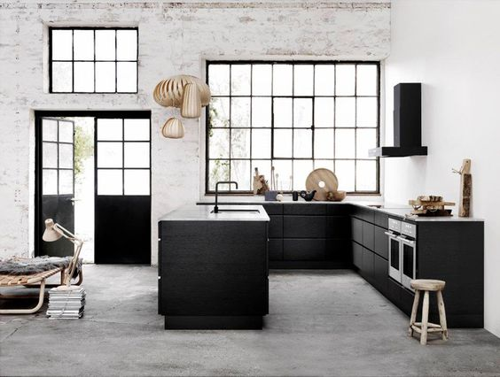 Industrial, interiores de diseño and cocinas negras on pinterest