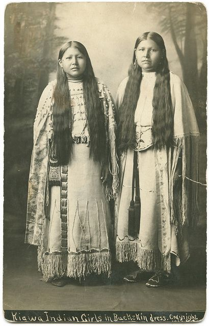 19-11-11  Kiawa  Indian Girls in Buckskin dress      Lawrence T. Jones III Texas photography collection    Lawton, Comanche County, Oklahoma