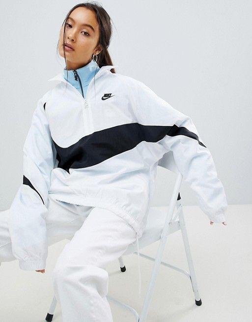 Nike White Vaporwave Oversized Half Zip
