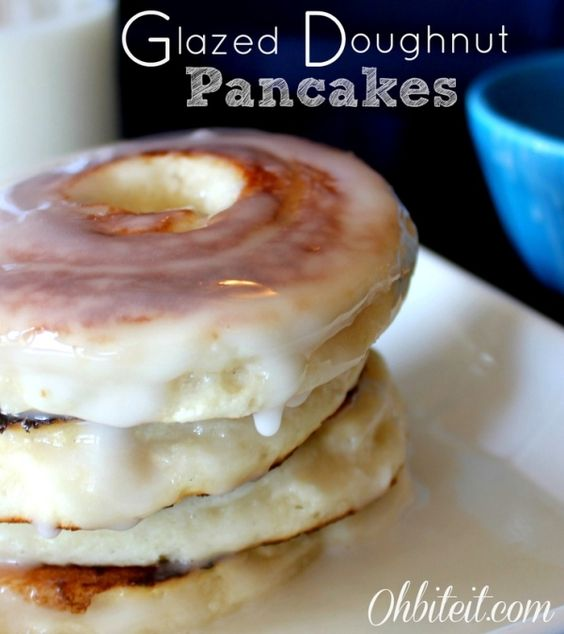 Glazed Doughnut Pancakes....1 Cup Pancake Mix  1 Cup White Cake Mix (I used Betty Crocker, it has the most 'doughnutty' taste)  1 1/2 Cup Milk  A Piping bag with a large tip  The Glaze:  1 Cup Powdered Sugar  A few drizzles of Milk..until it's thick and creamy!...EASY..blogger used a a pastry bag and squeezed the batter in a circular motion leaving a hole in the middle... by MissSweetC