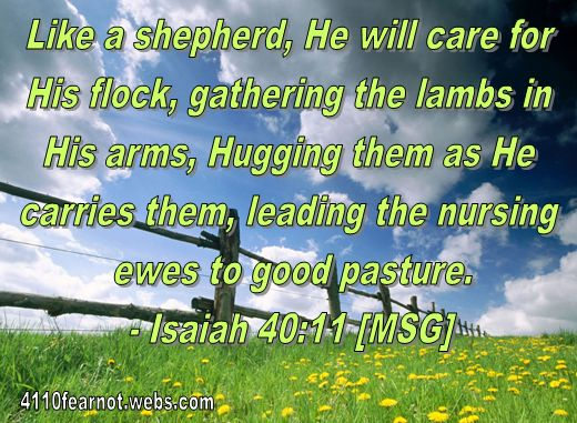 """Like a shepherd, He will care for His flock, gathering the lambs in His arms, Hugging them as He carries them, leading the nursing ewes to good pasture.""  - Isaiah 40:11 [MSG]"
