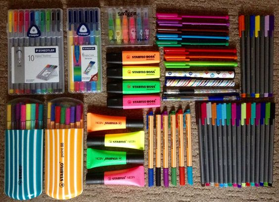 I got kind of bored and arranged (some of) my inhumanely large collection of pens..  Note: I've had all of the unboxed Staedtler fineliners since 2010 and they're still going strong ^.^  Shown here are: Staedtler triplus fineliners Staedtler triplus felt tips Staedtler ball-point pens Stabilo pen 68 Stabilo point 88 Stabilo boss highlighters  Stabilo neon highlighters  Stabilo greenpoint pens  Smiggle mini-highlighters  Smiggle ball-point pens Paperchase ball-point pens: