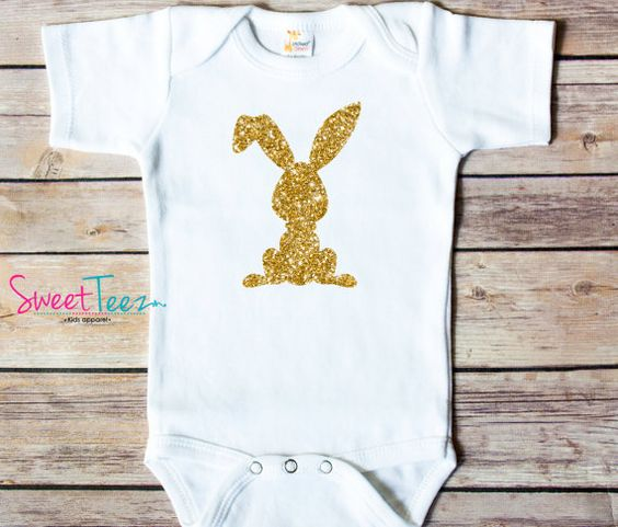 Bunny Gold Glitter Easter Shirt Baby Bodysuit Baby by SweetTeezLLC