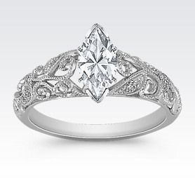 Vintage Diamond Engagement Ring with Pavé-Setting in 14k White Gold with Marquise Diamond