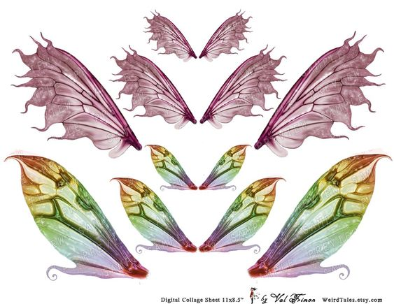 MAGIC Fairy Wings in 3 sizes - Digital Collage Sheet (No 079). €4.00, via Etsy.