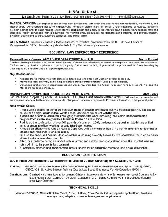 Security Officer Resume Objective - http\/\/jobresumesample\/709 - law enforcement resume templates