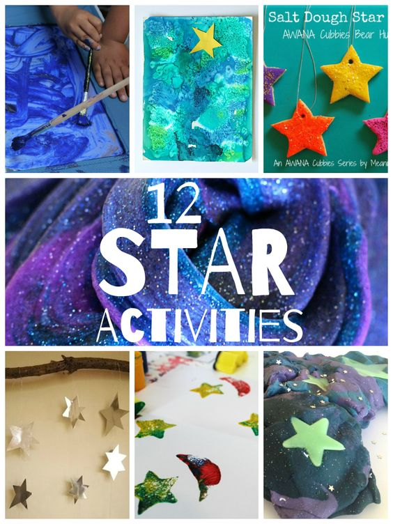 Star Crafts and Activities--Includes starry night playdough, galaxy slime, star-themed paint and more.