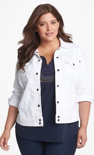 plus size Lucky Brand white denim jacket #UNIQUE_WOMENS_FASHION ...