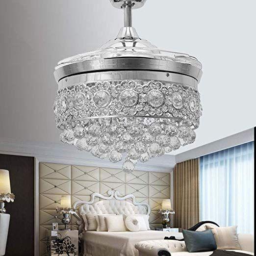 Huston Fan Modern Crystal Chandelier Ceiling Fan With 4