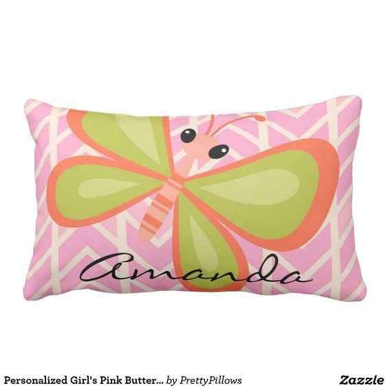 Sold, thank you to the customer in Texas. Little girl's room pink chevron with butterfly design personalized decorative throw pillow